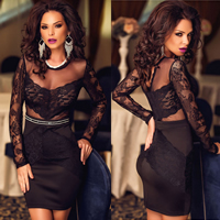 Gauze & Lace & Polyester Sexy Package Hip Dresses, different size for choice & transparent, geometric, black, Sold By PC