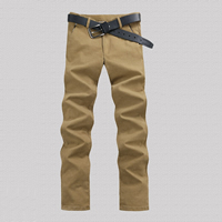 Polyester   Cotton Men Casual Pants more thicker and more wool Solid