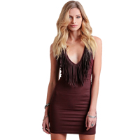 PU   Cotton Miracle Tassel One-piece Dress Solid wine red
