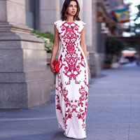 Cotton One-piece Dress, backless & different size for choice & floor-length, printed, geometric, red and white, Sold By PC
