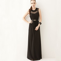 Cotton One-piece Dress floor-length   hollow Solid Size:Free Size