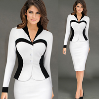 Polyester & Cotton Women Business Dress Suit, different size for choice, patchwork, more colors for choice, Sold By PC