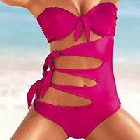 Nylon   Polyester Monokini hollow   breathable   padded Solid fuchsia