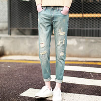 Denim Middle Waist Men Pencil Pants, different size for choice, with Polyester, frayed, geometric, light blue, Sold By PC