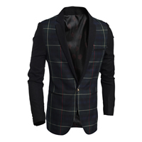 Polyester   Cotton Men Leisure Suit plaid deep blue