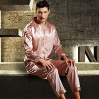 Imitation Silk Men Winter Pajama Set Solid