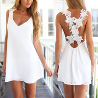 Chiffon One-piece Dress backless Solid white Sold By PC