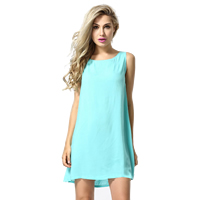 Lace   Polyester One-piece Dress hollow patchwork light blue