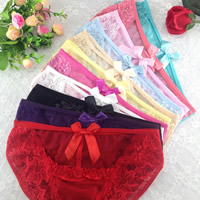 Lace & Cotton Hip-hugger Sexy Thong hollow & breathable with satin ribbon bowknot jacquard floral Size:Free Size 10PCs/Lot Sold By Lot