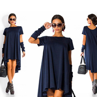 Cotton One-piece Dress short front long back Solid Sold By PC
