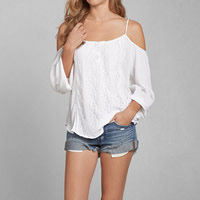Chiffon Long Sleeve Nightclub Top off shoulder Solid white Sold By PC