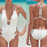Polyester Monokini, different size for choice & breathable & padded, printed, patchwork, more colors for choice, Sold By PC