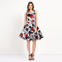 Polyester   Cotton One-piece Dress printed floral