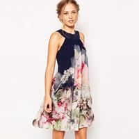 Chiffon One-piece Dress off shoulder printed floral blue