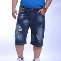 Denim Plus Size Men Capri Pants with Cotton frayed geometric blue