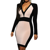 Spandex   Polyester Sexy Package Hip Dresses patchwork