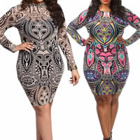 Spandex Plus Size Sexy Package Hip Dresses printed different color and pattern for choice