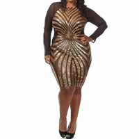 Sequin   Gauze   Polyester Plus Size Sexy Package Hip Dresses geometric