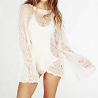 Cotton Swimming Cover Ups hollow   breathable Solid Size:Free Size