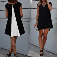 Chiffon One-piece Dress short front long back patchwork Sold By PC