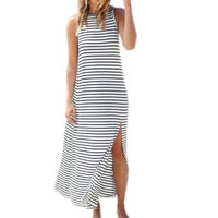 Cotton Beach Dress backless striped white and black Sold By PC