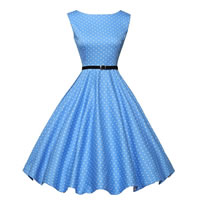 Polyester One-piece Dress with belt printed dot light blue Sold By PC