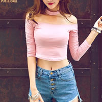 Polyester   Cotton Crop Top Long Sleeve Nightclub Top backless off shoulder with Cotton Solid Sold By PC