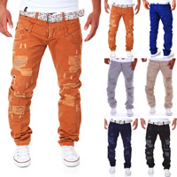Cotton Middle Waist Men Casual Pants breathable frayed geometric