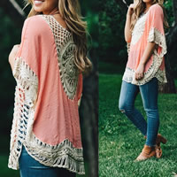 Line   Cotton Swimming Cover Ups hollow   breathable patchwork Size:Free Size
