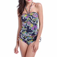 Spandex   Polyester Tankinis Set backless two piece   breathable   padded printed different color and pattern for choice