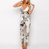 Polyester Long Jumpsuit backless printed floral white Sold By PC