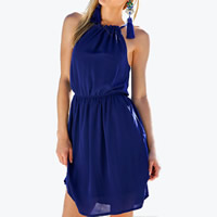 Chiffon A-line One-piece Dress Solid blue Sold By PC