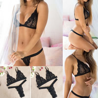 3/4 cup Lace & Polyester Sexy Bra Set breathable floral black Sold By Set