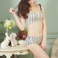 3/4 cup Cotton Push Up Bra and Panties Set seamless printed striped 3Sets/Lot Sold By Lot