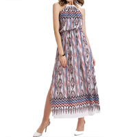 Chiffon One-piece Dress, different size for choice & off shoulder & ankle-length, printed, geometric, pink, Sold By PC