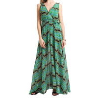 Chiffon One-piece Dress, different size for choice & floor-length, printed, floral, green, Sold By PC