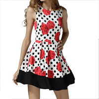 Nylon & Cotton One-piece Dress printed floral red Sold By PC