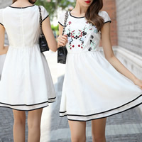 Chiffon One-piece Dress, different size for choice, embroidered, floral, white, Sold By PC