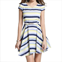 Hemp One-piece Dress with belt striped blue Sold By PC