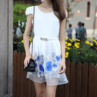 Gauze & Chiffon One-piece Dress, different size for choice & with belt, embroidered, floral, white, Sold By PC