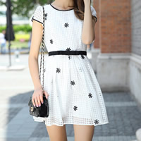 Organza One-piece Dress embroider floral white Sold By PC