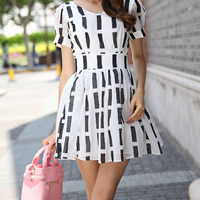 Chiffon One-piece Dress, different size for choice, geometric, more colors for choice, Sold By PC