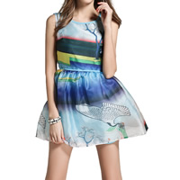 Organza One-piece Dress, different size for choice, printed, landscape, blue, Sold By PC
