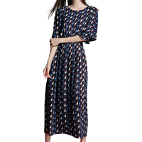 Hemp A-line One-piece Dress, different size for choice & ankle-length, printed, geometric, deep blue, Sold By PC