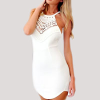 Polyester Sexy Package Hip Dresses, backless & different size for choice, with Lace, patchwork, white, Sold By PC