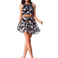 Chiffon Halter Dress with belt printed floral deep blue Sold By PC
