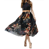 Chiffon One-piece Dress, different size for choice, printed, floral, black, Sold By PC