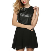 Chiffon One-piece Dress with PU Leather patchwork Sold By PC