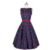 Polyester One-piece Dress printed fruit pattern deep blue
