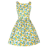 Polyester & Cotton One-piece Dress printed fruit pattern yellow Sold By PC